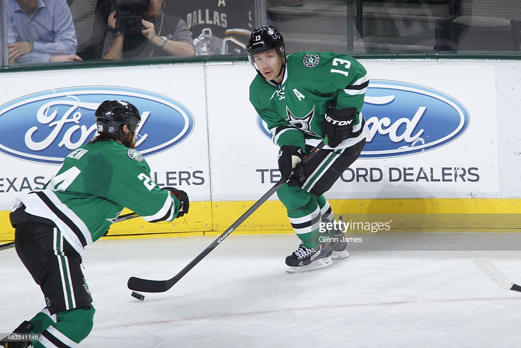 <a gi-track='captionPersonalityLinkClicked' href=/galleries/search?phrase=Ray+Whitney&family=editorial&specificpeople=202090 ng-click='$event.stopPropagation()'>Ray Whitney</a> #13 of the Dallas Stars handles the puck against the Winnipeg Jets at the American Airlines Center on March 24, 2014 in Dallas, Texas.