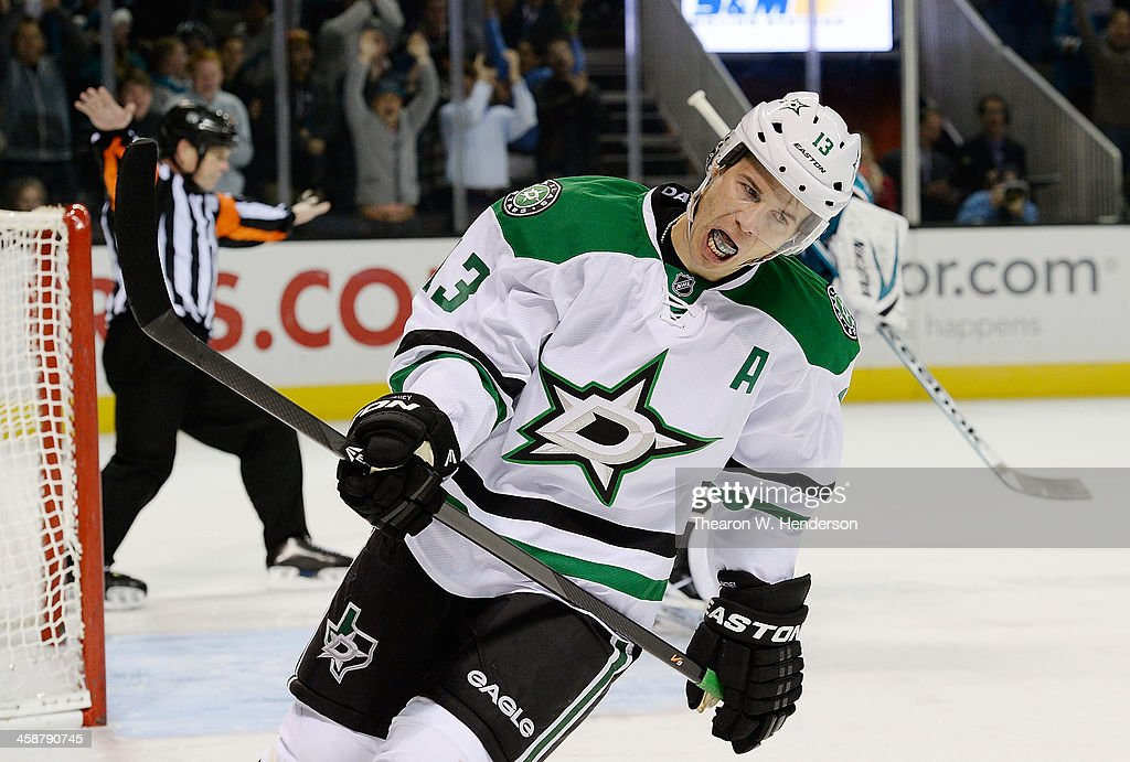 <a gi-track='captionPersonalityLinkClicked' href=/galleries/search?phrase=Ray+Whitney&family=editorial&specificpeople=202090 ng-click='$event.stopPropagation()'>Ray Whitney</a> #13 of the Dallas Stars reacts after having his shot stopped by goalkeeper Alex Stalock #32 of the San Jose Sharks during an overtime shoot-out at SAP Center on December 21, 2013 in San Jose, California. The Sharks won the game in an overtime shoot-out 3-2.