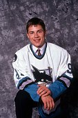 Ray Whitney of the San Jose Sharks poses for a portrait after being the first person drated in the second round of the 1991 NHL Entry Draft on June...