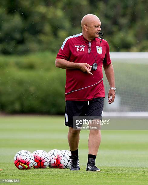 Ray Wilkins assistant manager of Aston Villa in action during a Aston Villa training session at the club's training ground at Bodymoor Heath on July...