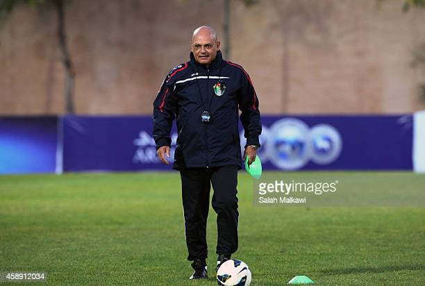 Ray Wilkins the new coach of Jordan who was a former England captain coaching along with his staff the national football team of Jordan during a...