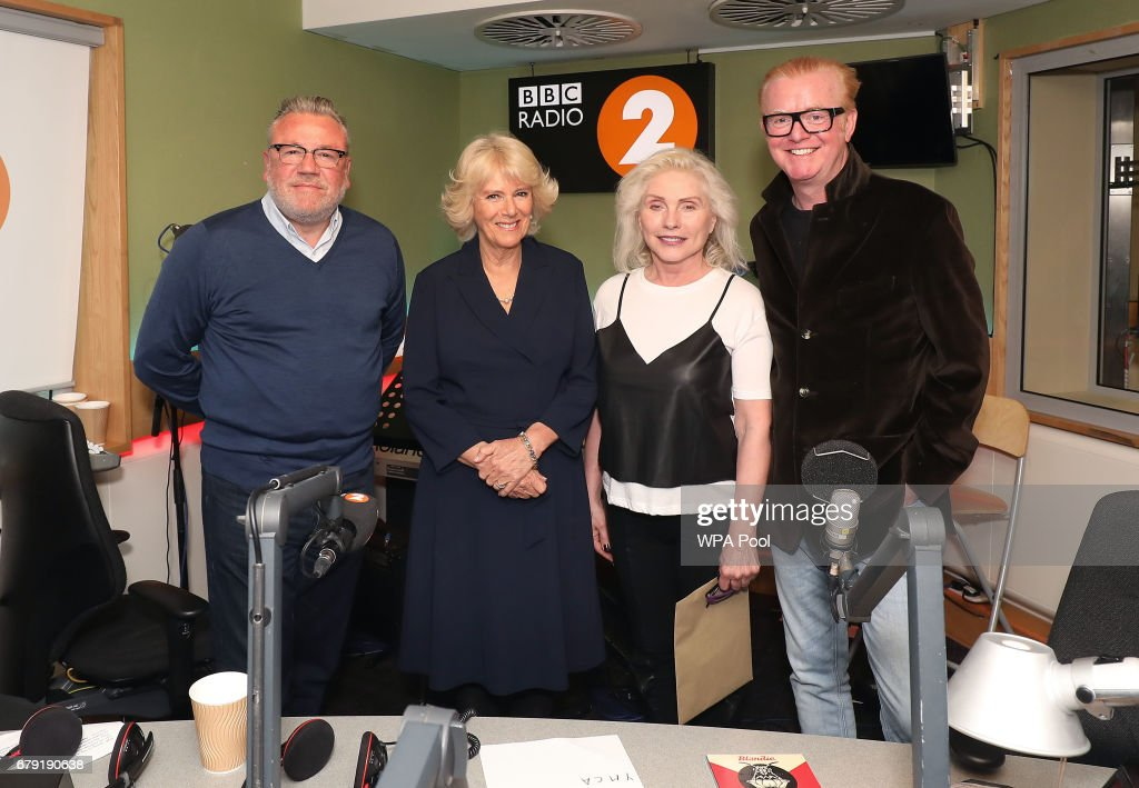 Ray Winston, Debbie Harry from Blondie and Chris Evans pose with Camilla, Duchess (2nd-L) of Cornwall as she joins the '500 Word' judging panel, a creative writing competition, at BBC Radio 2 Studios on May 4, 2017 in London, England.