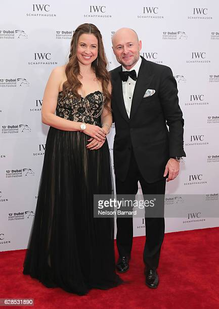 Raya Abirached and IWC Schaffhausen CEO Georges Kern attend the IWC Filmmaker Award during day two of the 13th annual Dubai International Film...