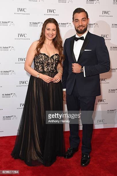 Raya Abirached IWC brand ambassador and Bassel Alzaro attend the fifth IWC Filmmaker Award gala dinner at the 13th Dubai International Film Festival...