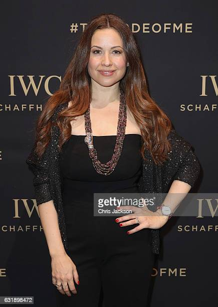 Raya Abirached visits the IWC booth during the launch of the Da Vinci Novelties from the Swiss luxury watch manufacturer IWC Schaffhausen at the...