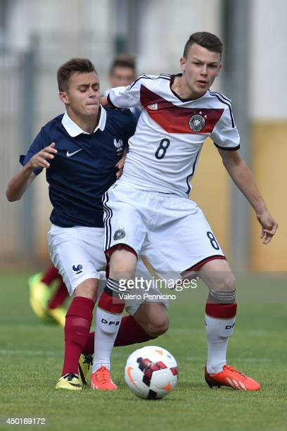 Rayan Souici of France competes with Niklas Schmidt of Germany during the International Friendly match between U16 France and U16 Germany at Stade...