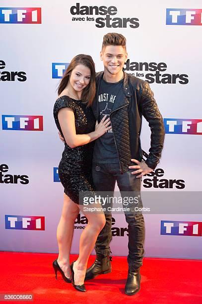 Rayane Bensetti and Denitsa Ikonomova attend the 'Danse Avec Les Stars 2014' Photocall at TF1 on September 10 2014 in Paris France