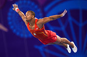 Rayderley Miguel Zapata Santana of Spain competes in the Men's Floor Exercise on day eight of the Baku 2015 European Games at the National Gymnastics...