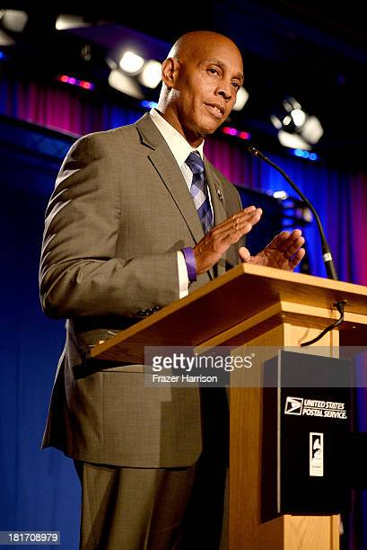 Raye Charles Robinson J speaks at the unveiling of the new Ray Charles stamp at the GRAMMY Museum in Los Angeles Calif on Monday September 23 2013...