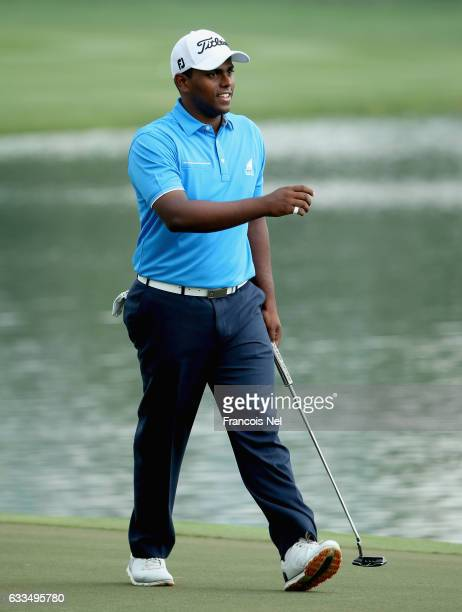 Rayhan Thomas of India reacts during the first round of the Omega Dubai Desert Classic on the Majlis Course at Emirates Golf Club on February 2 2017...