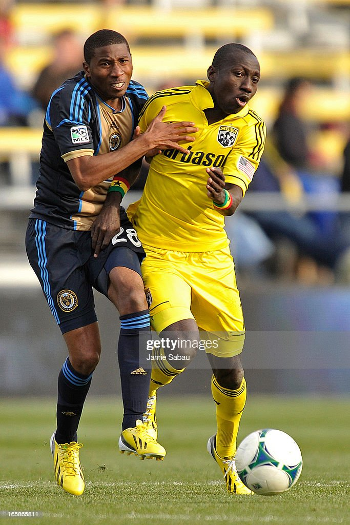 Raymon Gaddis #28 of Philadelphia Union and <a gi-track='captionPersonalityLinkClicked' href=/galleries/search?phrase=Dominic+Oduro&family=editorial&specificpeople=4237202 ng-click='$event.stopPropagation()'>Dominic Oduro</a> #11 of the Columbus Crew collide with each other as they chase down the ball in the second half on April 6, 2013 at Crew Stadium in Columbus, Ohio. Columbus and Philadelphia played to a 1-1 tie.
