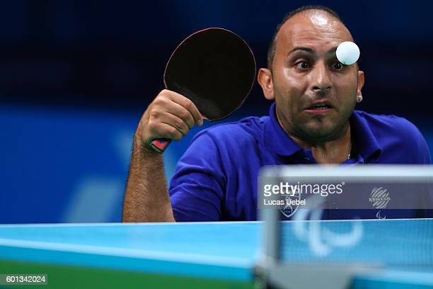 Raymond Alecci of Italy competes in the men's singles Table Tennis Class 6 on day 2 of the Rio 2016 Paralympic Games at Riocentro Pavilion 3 on...