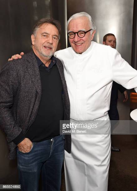 Raymond Blanc and Alain Ducasse attend 10th anniversary of Alain Ducasse at The Dorchester on October 23 2017 in London England