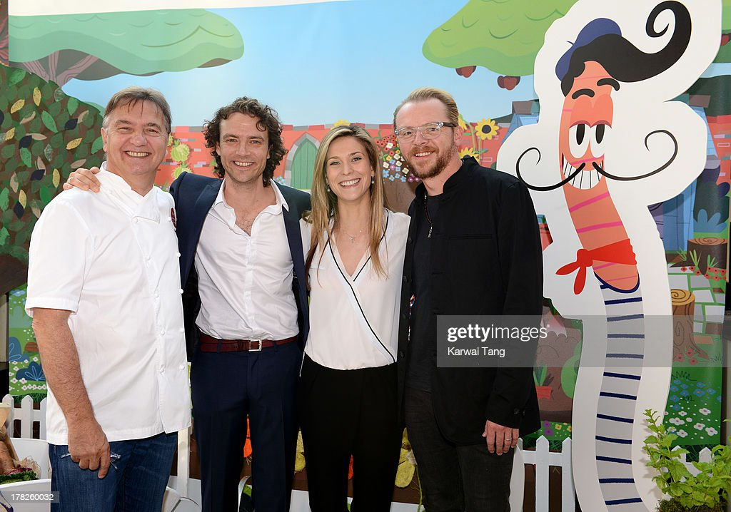 Raymond Blanc, Olivier Blanc, Charlotte Salt and Simon Pegg attend the Launch of a New Childrens App 'Henri Le Worm' held at Brasserie Blanc on August 28, 2013 in London, England.