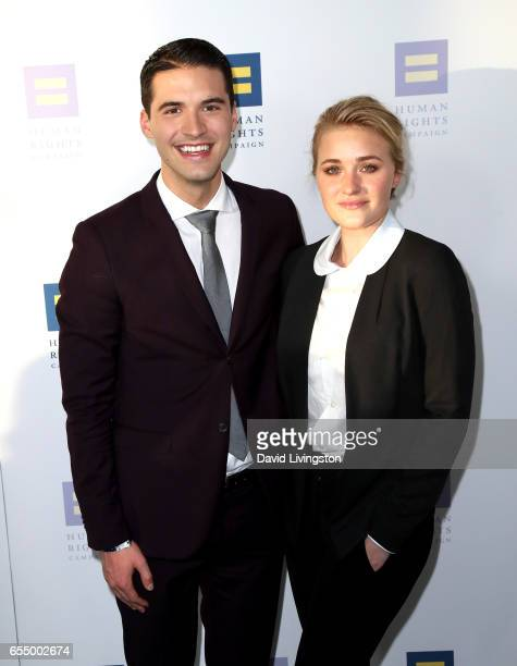 Raymond Braun and actress AJ Michalka attend the Human Rights Campaign's 2017 Los Angeles Gala Dinner at JW Marriott Los Angeles at LA LIVE on March...