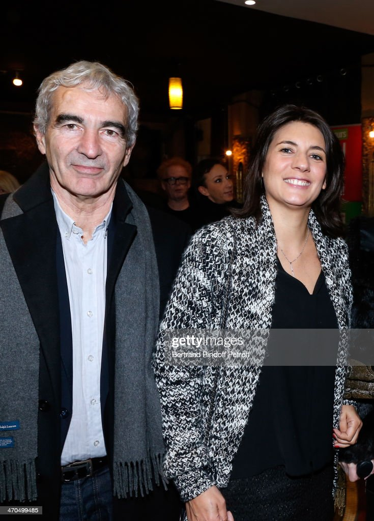 Raymond Domenech and Estelle Denis attend the 'L'appel de Londres' theatrical premiere at Theatre Du Gymnase on February 19, 2014 in Paris, France.