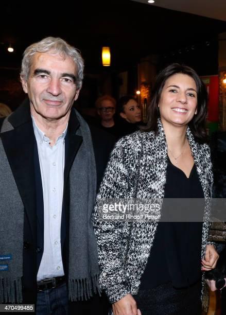 Raymond Domenech and Estelle Denis attend the 'L'appel de Londres' theatrical premiere at Theatre Du Gymnase on February 19 2014 in Paris France