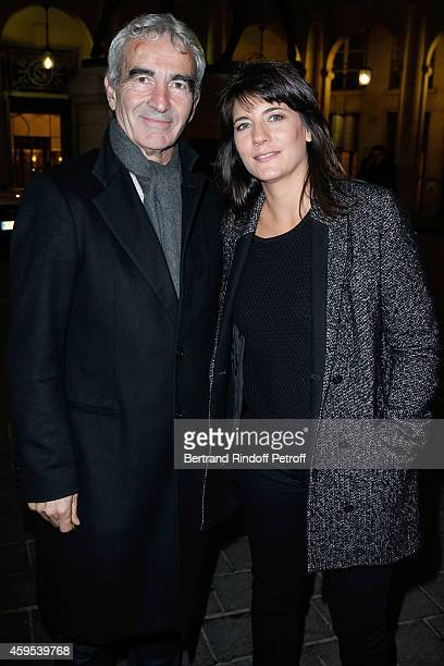 Raymond Domenech and Estelle Denis attend the 'Ma Vie Revee' Michel Boujenah One Man Show at Theatre Edouard VII on November 24 2014 in Paris France