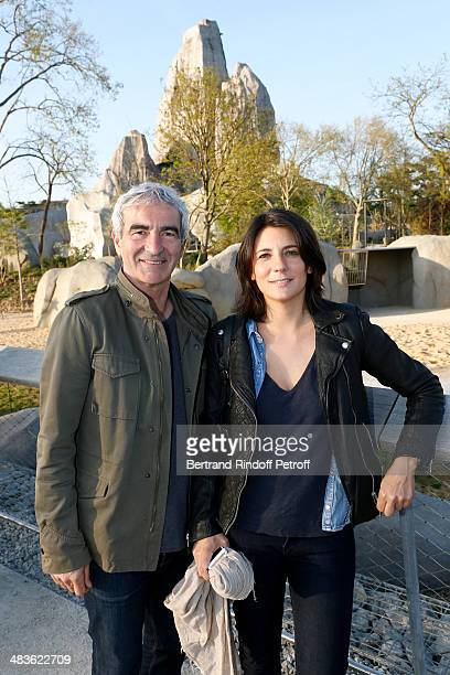 Raymond Domenech and Estelle Denis attend the Private visit of the Zoological Park of Paris due to reopen on April 12 On April 9 2014 in Paris France