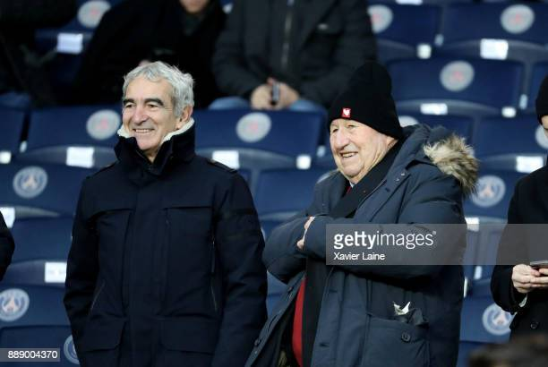 Raymond Domenech and Guy Roux attend the Ligue 1 match between Paris Saint Germain and Lille OSC at Parc des Princes on December 9 2017 in Paris