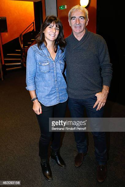 Raymond Domenech and his wife Estelle Denis attend Alex Lutz in his One man Show at L'Olympia on January 24 2015 in Paris France