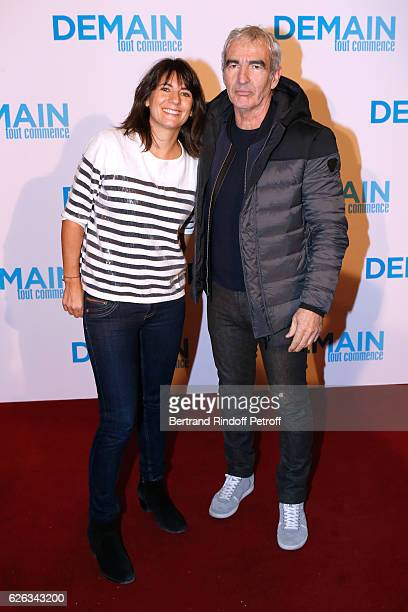 Raymond Domenech and his wife Estelle Denis attend the 'Demain Tout Commence' Paris Premiere at Cinema Le Grand Rex on November 28 2016 in Paris...