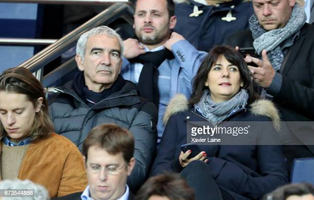 Raymond Domenech and his wife Estelle Denis attend the French Cup SemiFinal match between Paris SaintGermain and As Monaco at Parc des Princes on...