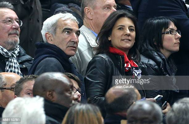 Raymond Domenech and his wife Estelle Denis attends the French Cup Final between Stade Rennais FC and EA Guingamp at Stade de France on May 3 2014 in...