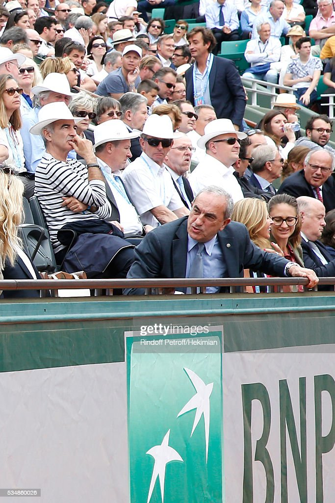 <a gi-track='captionPersonalityLinkClicked' href=/galleries/search?phrase=Raymond+Domenech&family=editorial&specificpeople=497446 ng-click='$event.stopPropagation()'>Raymond Domenech</a> and President of French Tennis Federation <a gi-track='captionPersonalityLinkClicked' href=/galleries/search?phrase=Jean+Gachassin&family=editorial&specificpeople=5701397 ng-click='$event.stopPropagation()'>Jean Gachassin</a> attend Day Seven of the 2016 French Tennis Open at Roland Garros on May 28, 2016 in Paris, France.