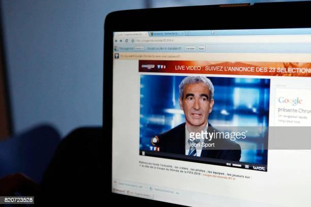Raymond Domenech au journal de 20H de TF1 Diffusion suivie sur internet par le site de TF1