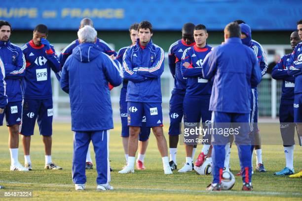 Raymond DOMENECH / Yoann GOURCUFF / Hatem BEN ARFA Entrainement equipe de France avant le match contre l Espagne Clairefontaine