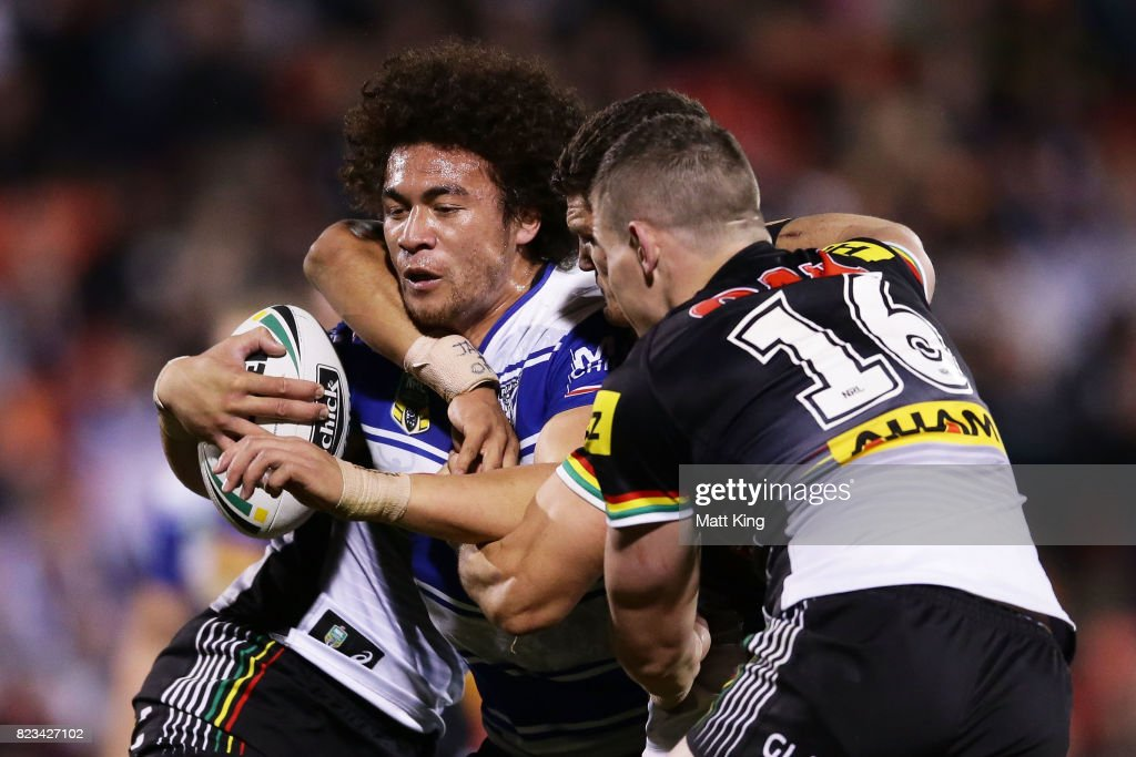 Raymond Faitala-Mariner of the Bulldogs is tackled during the round 21 NRL match between the Penrith Panthers and the Canterbury Bulldogs at Pepper Stadium on July 27, 2017 in Sydney, Australia.