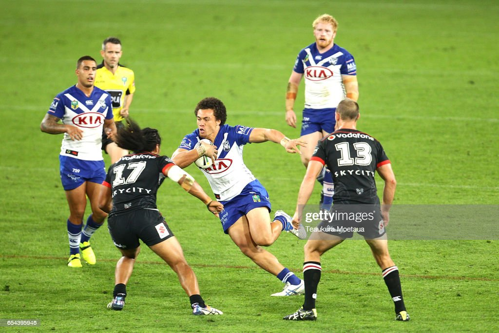 Raymond Faitala-Mariner of the Bulldogs is tackled during the round three NRL match between the Bulldogs and the Warriors at Forsyth Barr Stadium on March 17, 2017 in Dunedin, New Zealand.