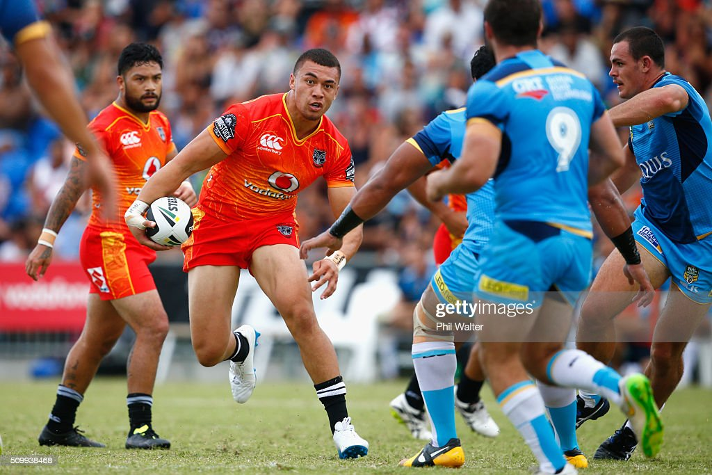 Raymond Faitala-Mariner of the Warriors makes a break during the NRL Trial Match between the New Zealand Warriors and the Gold Coast Titans at Toll Stadium on February 13, 2016 in Whangarei, New Zealand.