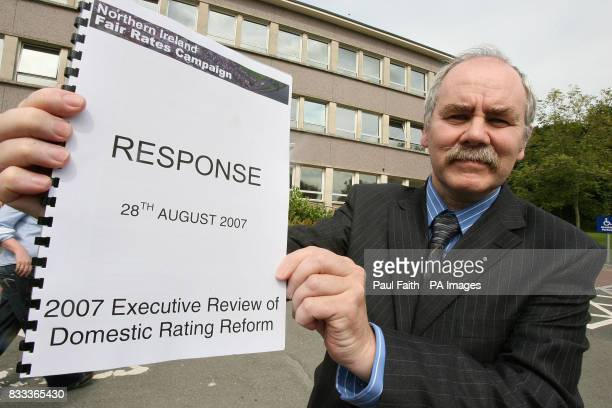 Raymond Farley Chairman of the Fair Rates campaign with the campaign's rating review submission which was handed to Northern Ireland's Finance...