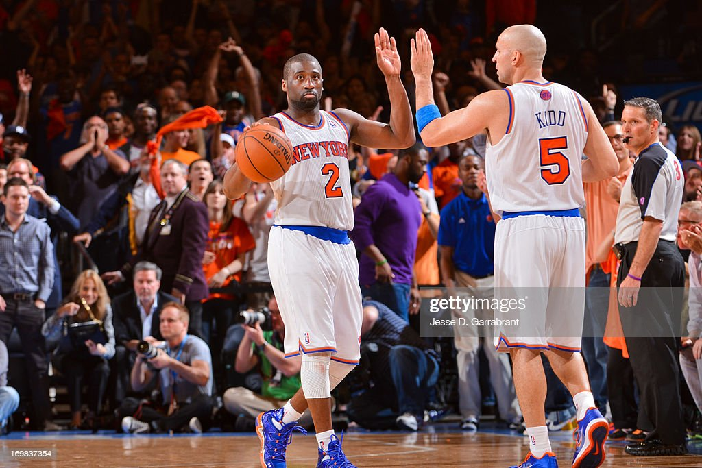 <a gi-track='captionPersonalityLinkClicked' href=/galleries/search?phrase=Raymond+Felton&family=editorial&specificpeople=209141 ng-click='$event.stopPropagation()'>Raymond Felton</a> #2 and <a gi-track='captionPersonalityLinkClicked' href=/galleries/search?phrase=Jason+Kidd&family=editorial&specificpeople=201560 ng-click='$event.stopPropagation()'>Jason Kidd</a> #5 of the New York Knicks celebrate while playing the Boston Celtics in Game One of the Eastern Conference Quarterfinals during the 2013 NBA Playoffs on April 20, 2013 at Madison Square Garden in New York City, New York.