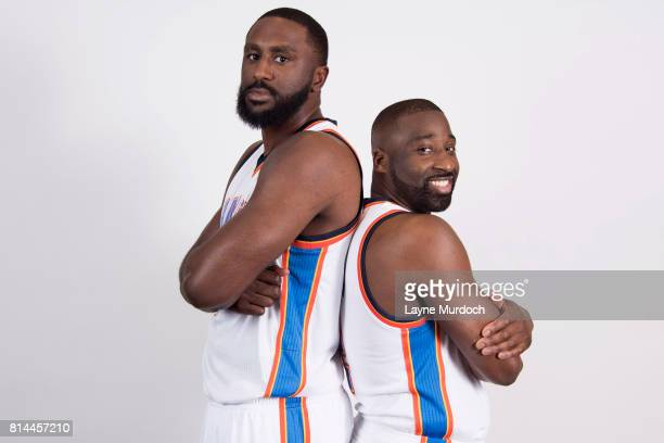 Raymond Felton and Patrick Patterson of the Oklahoma City Thunder pose for portraits on July 10 2017 at the Thunder practice facility in Oklahoma...
