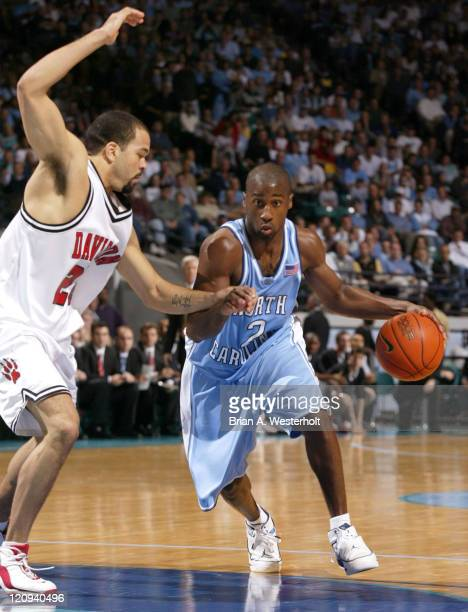 Raymond Felton drives past Nick Booker during the second half of North Carolina's 9168 defeat of Davidson Felton finsished with 7 points and a game...
