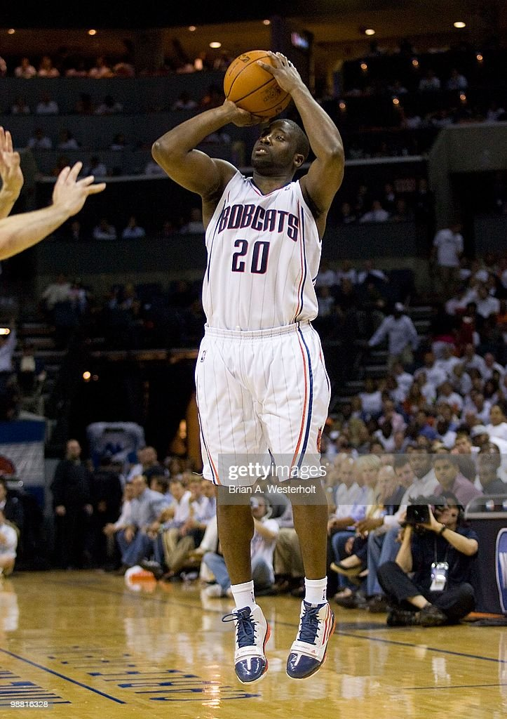 <a gi-track='captionPersonalityLinkClicked' href=/galleries/search?phrase=Raymond+Felton&family=editorial&specificpeople=209141 ng-click='$event.stopPropagation()'>Raymond Felton</a> #20 of the Charlotte Bobcats attempts a jump shot against the Orlando Magic at Time Warner Cable Arena on April 26, 2010 in Charlotte, North Carolina. The Magic defeated the Bobcats 99-90 to complete the four game sweep.