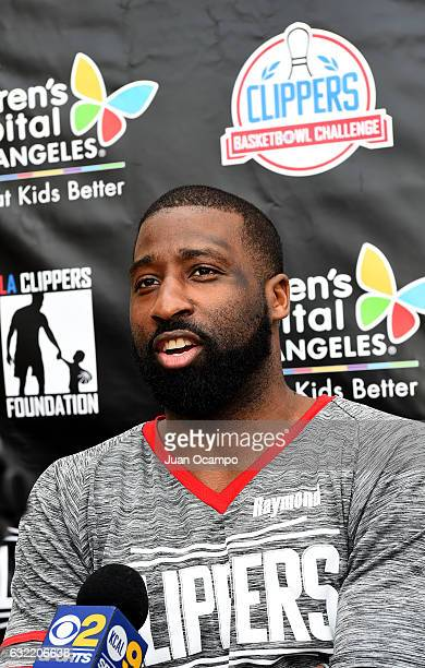 Raymond Felton of the LA Clippers talks to media during the LA Clippers Foundation Hosts Annual Charity Basketbowl Challenge Presented by Children's...