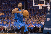 Raymond Felton of the Dallas Mavericks brings the ball up court against the Oklahoma City Thunder during Game Five of the Western Conference...