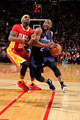 Raymond Felton of the Dallas Mavericks drives to the basket against the Houston Rockets on November 14 2015 at the Toyota Center in Houston Texas...