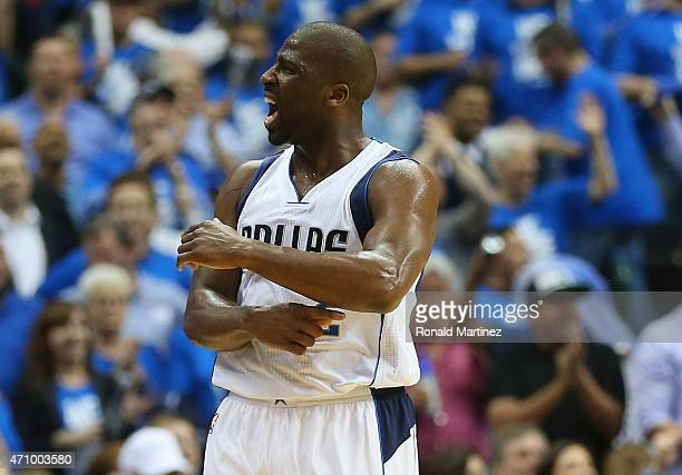 Raymond Felton of the Dallas Mavericks reacts against the Houston Rockets during Game Three of the Western Conference quarterfinals of the 2015 NBA...