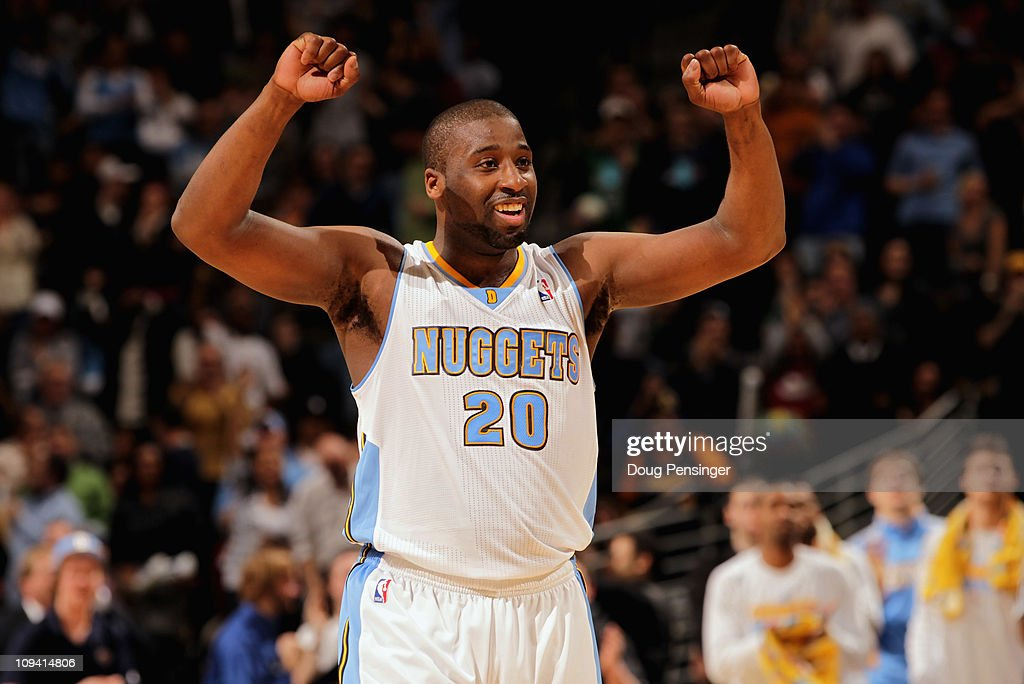 <a gi-track='captionPersonalityLinkClicked' href=/galleries/search?phrase=Raymond+Felton&family=editorial&specificpeople=209141 ng-click='$event.stopPropagation()'>Raymond Felton</a> #20 of the Denver Nuggets reacts in the fourth quarter against the Boston Celtics during NBA action at the Pepsi Center on February 24, 2011 in Denver, Colorado. The Nuggets defeated the Celtics 89-75.