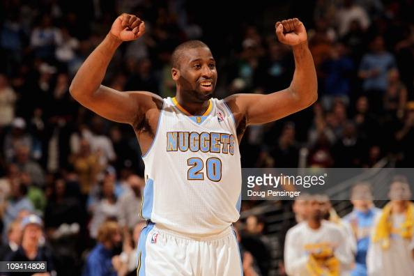 Raymond Felton of the Denver Nuggets reacts in the fourth quarter against the Boston Celtics during NBA action at the Pepsi Center on February 24...