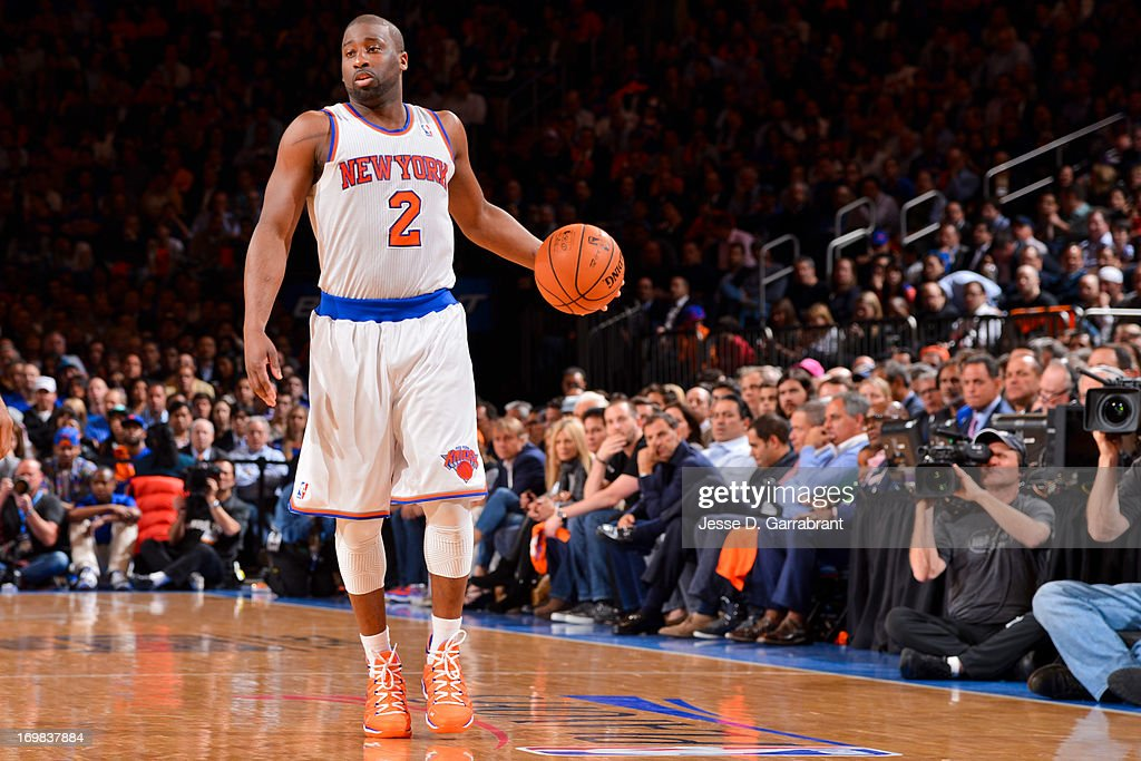 Raymond Felton #2 of the New York Knicks advances the ball against the Boston Celtics in Game Five of the Eastern Conference Quarterfinals during the 2013 NBA Playoffs on May 1, 2013 at Madison Square Garden in New York City