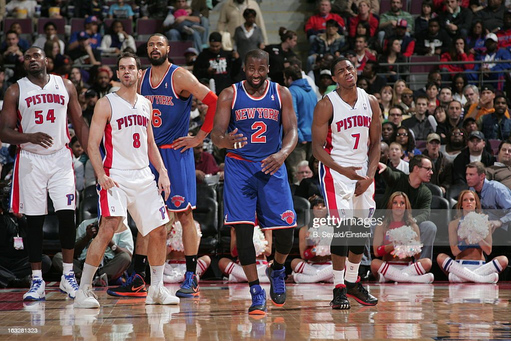 Raymond Felton #2 of the New York Knicks and Jose Calderon #8 and Brandon Knight #7 of the Detroit Pistons react during the game between the Detroit Pistons and the Atlanta Hawks on March 6, 2013 at The Palace of Auburn Hills in Auburn Hills, Michigan.