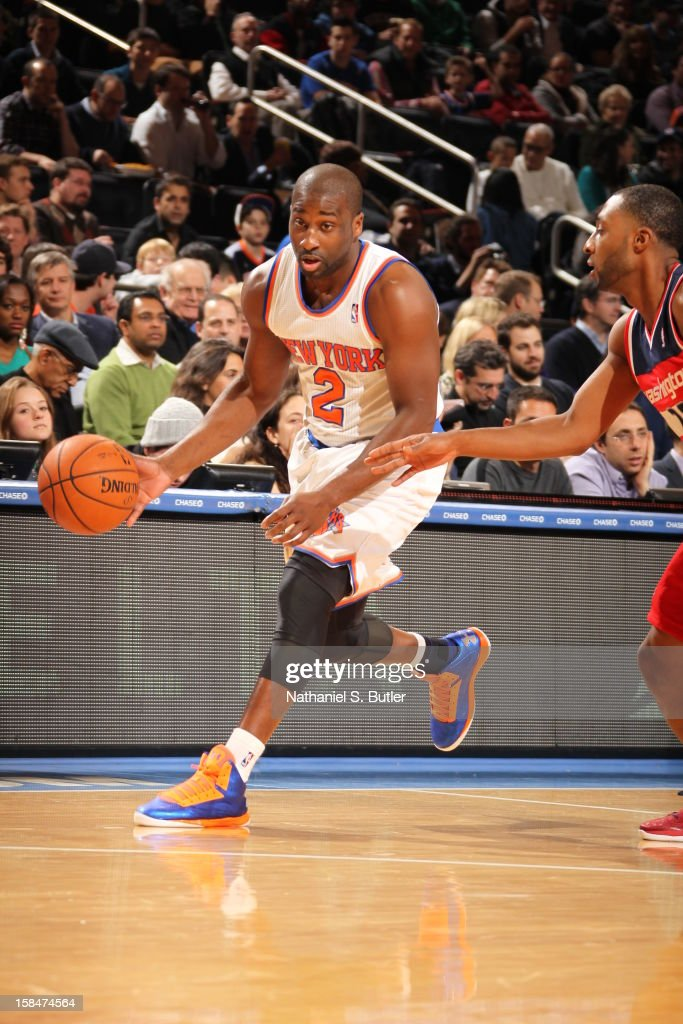 Raymond Felton #2 of the New York Knicks brings the ball up court against the Washington Wizards on November 30 2012 at Madison Square Garden in New York City.