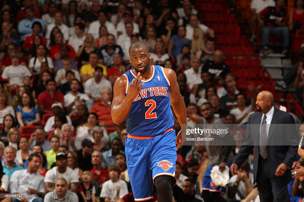 <a gi-track='captionPersonalityLinkClicked' href=/galleries/search?phrase=Raymond+Felton&family=editorial&specificpeople=209141 ng-click='$event.stopPropagation()'>Raymond Felton</a> #2 of the New York Knicks celebrates a basket during the game against the Miami Heat at the American Airlines Arena in Miami, Florida on April 6, 2014.