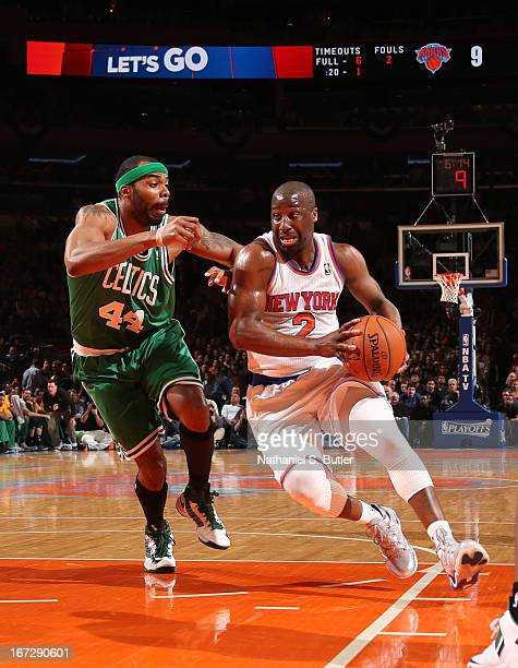 Raymond Felton of the New York Knicks drives against Chris Wilcox of the Boston Celtics in Game Two of the Eastern Conference Quarterfinals during...